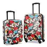 American Tourister Disney's Mickey & Minnie Mouse 2-Piece Roll Aboard Hardside Luggage Set