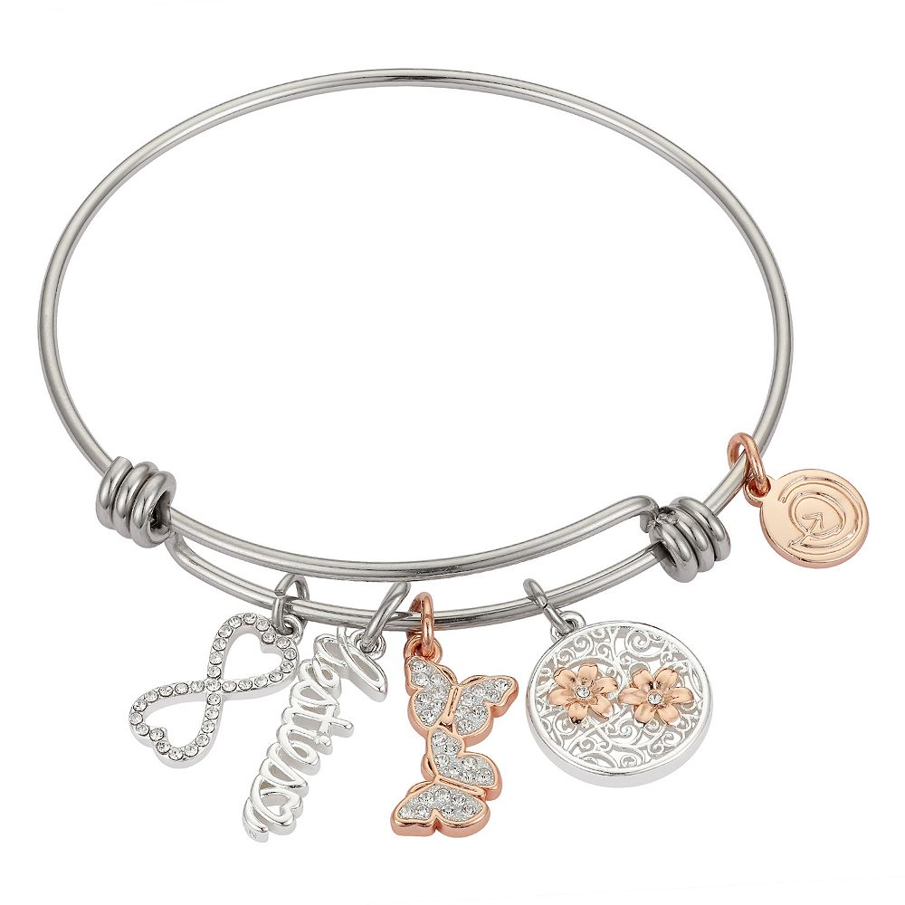 "LovethisLife® ""Besties"" Butterfly & Infinity Crystal Charm Bangle Bracelet"