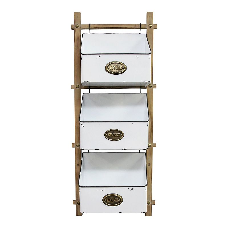 Keep your things organized with this Stratton Home Decor 3 Tiered Farmhouse Basket. Keep your things organized with this Stratton Home Decor 3 Tiered Farmhouse Basket. Metal, wood Wipe clean Imported Attached D-rings for hanging 5.94 pounds 3 compartments 36.00H X 15.00W X 7.00D, Basket Measures 9.25 X 10.59W x 5.60D Each Size: One Size. Color: Multicolor. Gender: unisex. Age Group: adult.