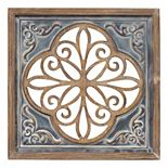 Stratton Home Decor Wood and Metal Blue Square Wall Decor