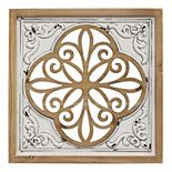 Stratton Home Decor Wood and Metal White Square Wall Decor