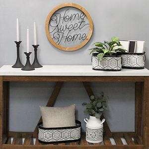 Stratton Home Decor Set of 3 Matte Black Metal Candlestick