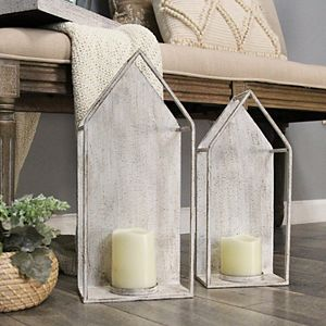Stratton Home Decor Set of 2 House Candleholder