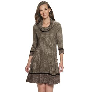 Women's Croft & Barrow® Colorblock Cowlneck Sweater Dress