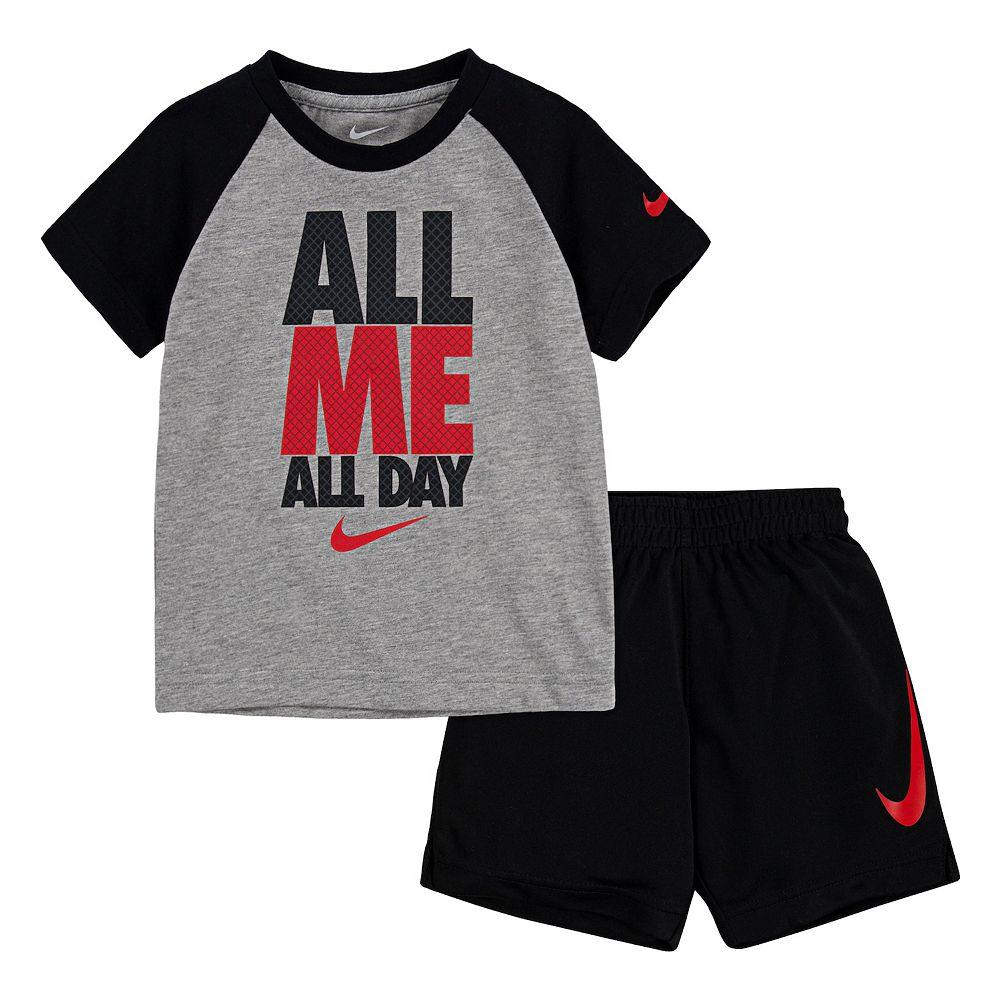 """Toddler Boy Nike """"All Me All Day"""" Raglan Tee & Shorts Set"""