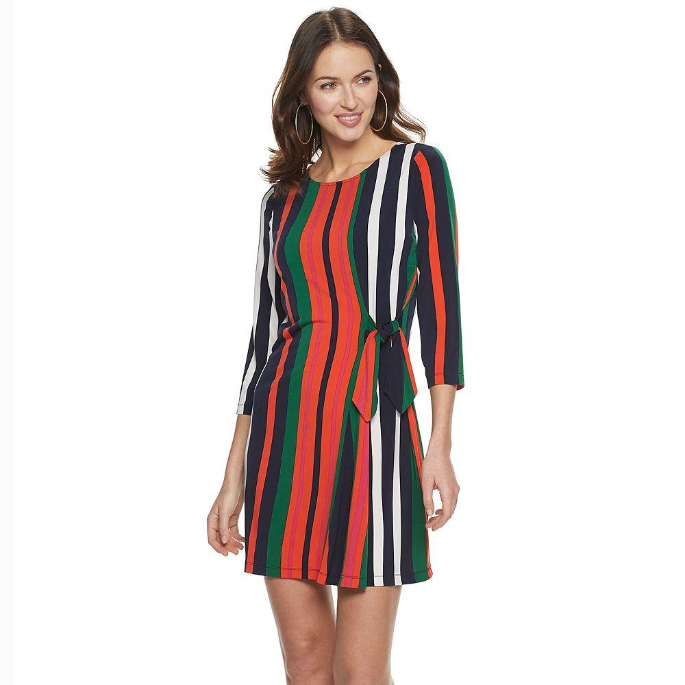 Petite Suite 7 Striped Long Sleeve Shift Dress