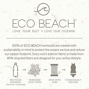 Plus Size ECO BEACH Colorblock High Neck One-Piece Swimsuit