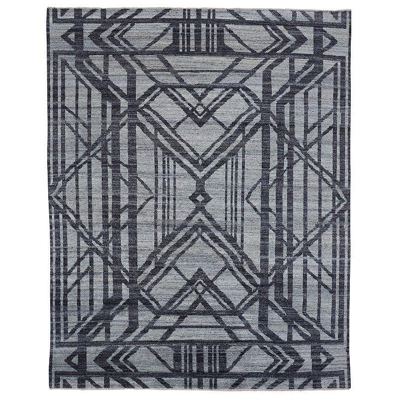 Weave & Wander Norris Geometric Wool Rug, Grey, 5X8 Ft Product Image