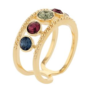Brilliance Open Shank Multicolor Crystal 5-Stone Ring with Swarovski Crystals