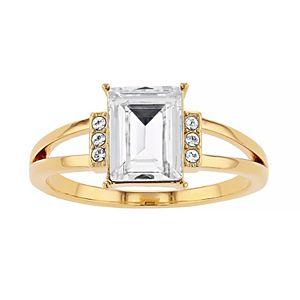 Brilliance Gold Tone Split-Shank Ring with Swarovski Crystals