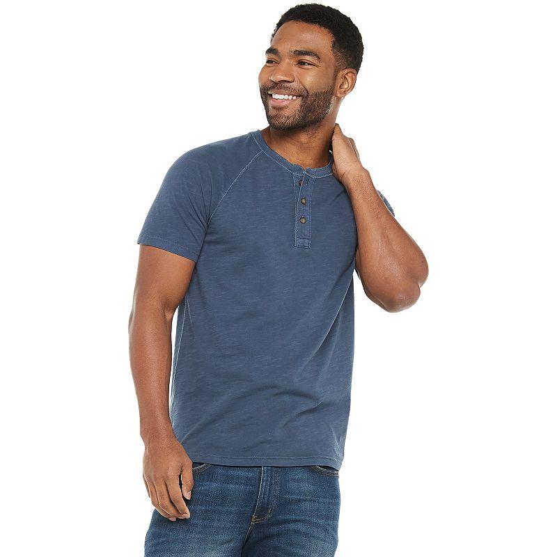 Men's Sonoma Goods For Life Supersoft Henley. Size: XXL SLIM. Dark Blue