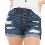 Juniors' Mudd® Destructed Frayed Hem Midi Shorts