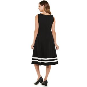 Women's Chaps Sleeveless A-Line Stripe Hem Dress
