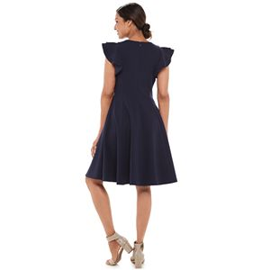 Women's Chaps Flutter Sleeve A-Line Dress