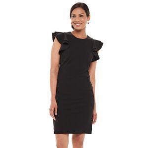 Women's Chaps Flutter Sleeve Sheath Dress