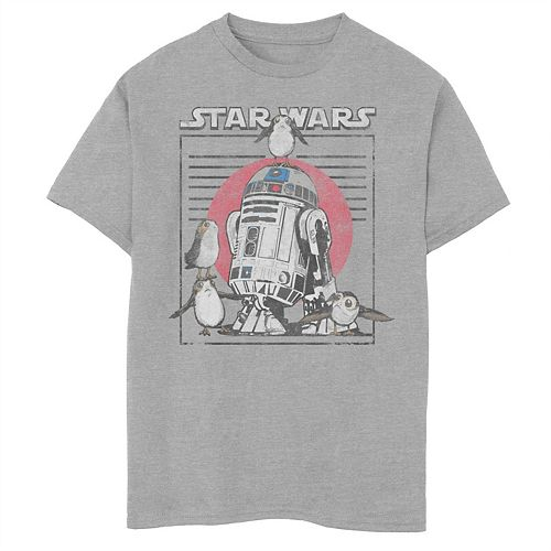 Boys 8-20 Star Wars Last Jedi Flock of Porgs Surround R2-D2 Graphic Tee
