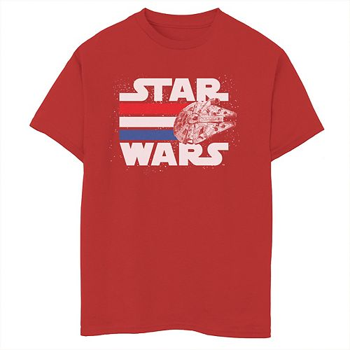 Boys 8-20 Star Wars Falcon Stripes Red White & Blue July 4th Graphic Tee