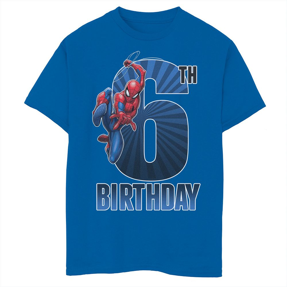 Boys 8-20 Marvel Spider-Man Swinging 6th Birthday Graphic Tee