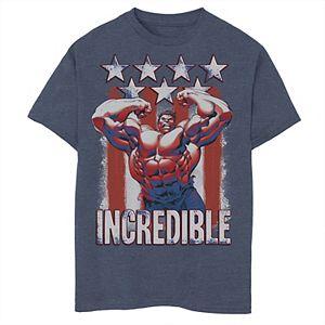 Boys 8-20 Marvel Hulk Incredible Stars and Stripes Graphic Tee