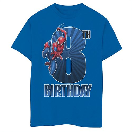 Boys 8-20 Marvel Spider-Man Swinging 8th Birthday Graphic Tee