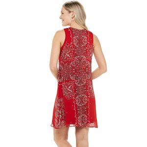 Women's Chaps Sleeveless Print Trapeze Shift Dress