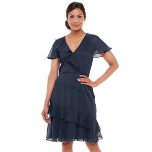 Women's Chaps Ruffled Surplice Chiffon Dress