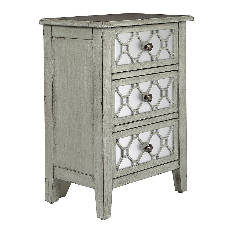 OSP Home Furnishings Miramar 3-Drawer Storage Cabinet, Grey