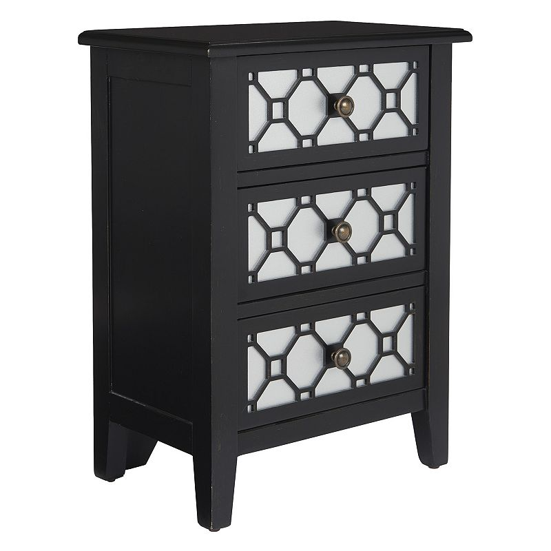 OSP Home Furnishings Miramar 3-Drawer Storage Cabinet, Black