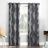 Sun Zero Deklyn Ogee Stripe Print Theater Grade Extreme 100% Blackout Grommet Curtain Panel