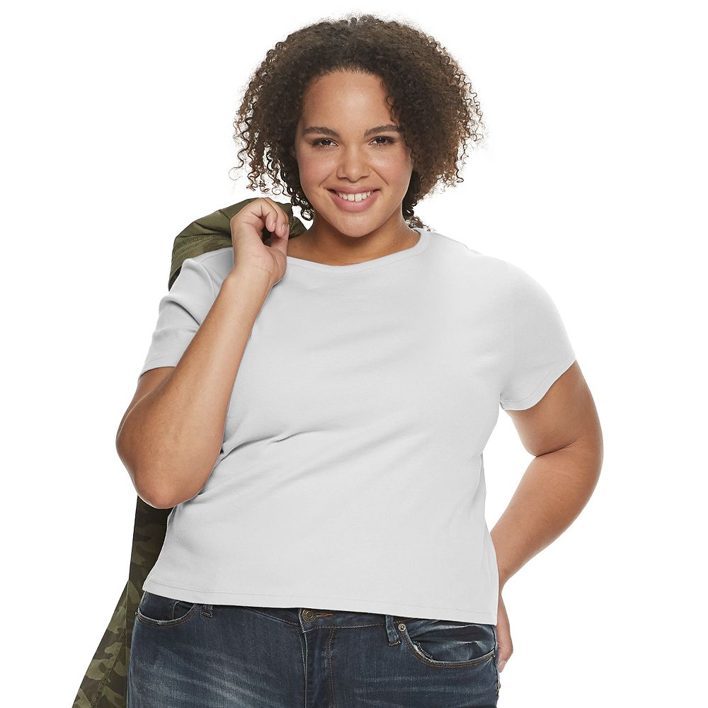 Juniors' Plus Size SO® Ribbed Baby Tee