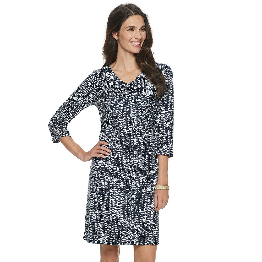 Women's Croft & Barrow® Print V-neck Sheath Dress
