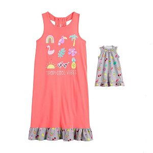 Girls 4-14 & Plus Size SO Keyhole Back Dorm Nightgown & Matching Doll Gown Set