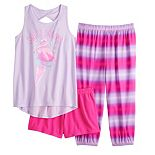 Girls 5-14 SO® Twist Back Tank, Short Shorts and Cropped Jogger Pajama Set