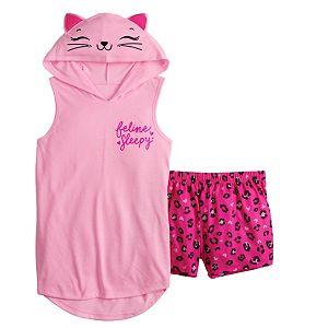 Girls 5-14 SO® Critter Hoodie and Matching Shorts Pajama Set