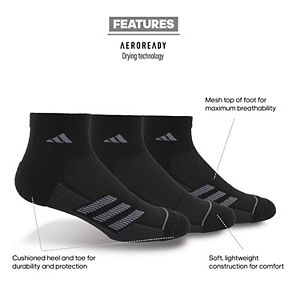 Men's adidas climatite Superlite Stripe II 3-pack Quarter Socks