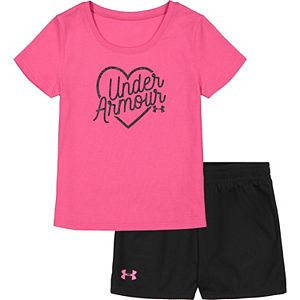 Baby Girl Under Armour Outline Heart Tee And Short Set