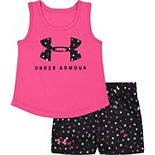 Baby Girl Under Armour Big Logo Tee Dots Short Set