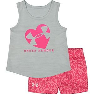 Baby Girl Under Armour Cross Section Heart Tank And Short Set
