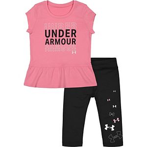 Baby Girl Under Armour Wordmark Logo Tee And Capri Set