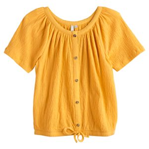 Girls 4-20 & Plus Size SO® Knot Hem Peasant Top