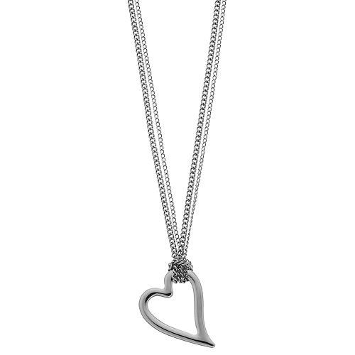 Simply Vera Vera Wang Double-Chain Heart Pendant Necklace