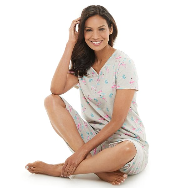 Women's Croft & Barrow® Henley & Skimmer Capris Pajama Set