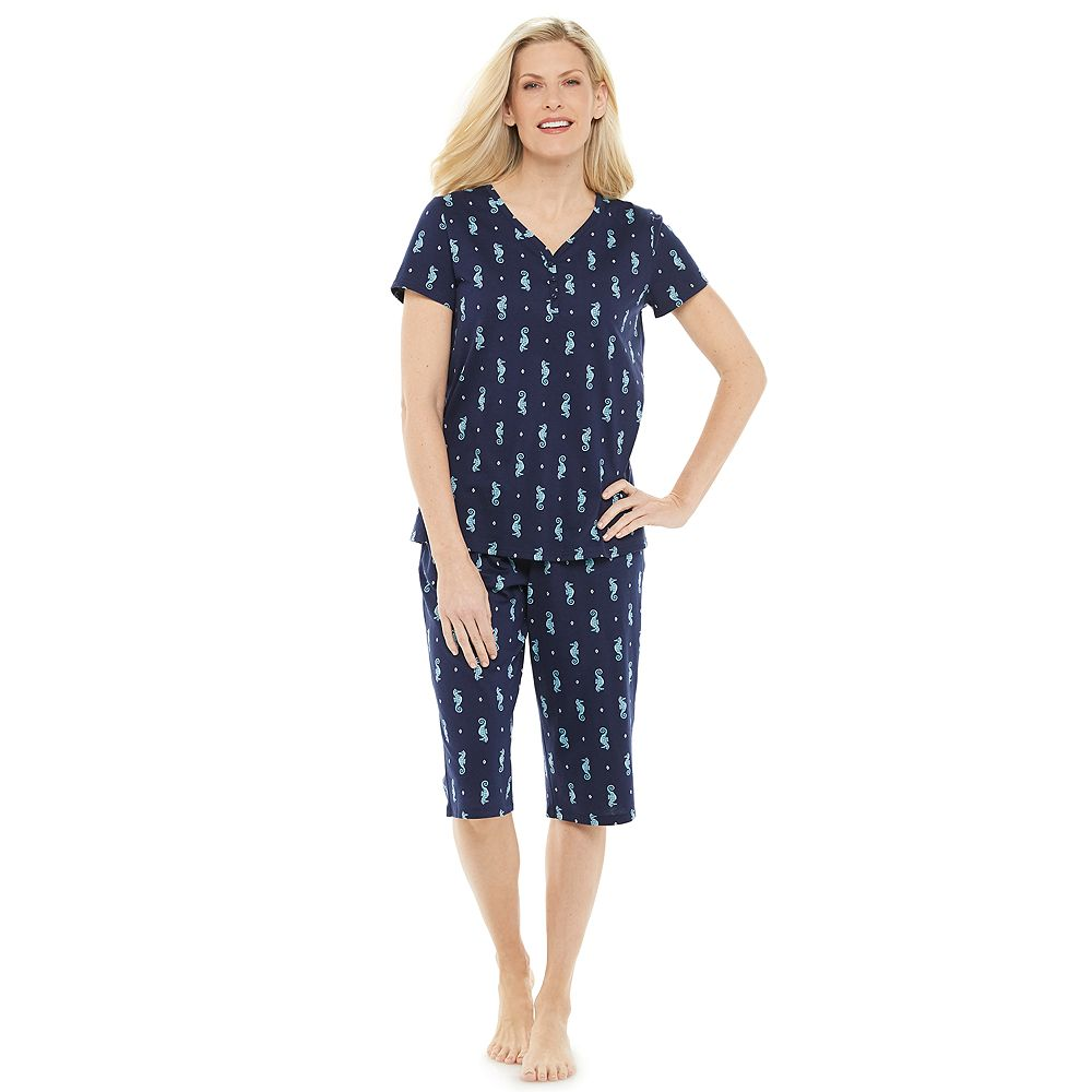 Women's Croft & Barrow® Henley & Skimmer Capris Pajama Set