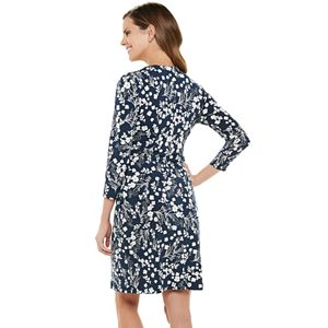 Petite Chaps Gathered Faux-Wrap Dress