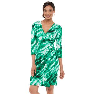 Petite Chaps Print Faux-Wrap Dress