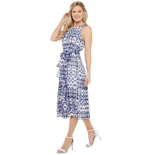 Petite Chaps Print Chiffon Midi Dress