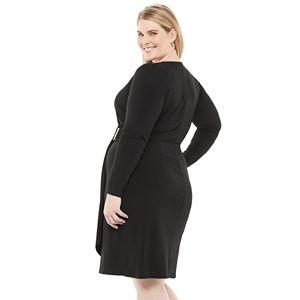 Plus Size Chaps Gathered Side Faux-Wrap Dress