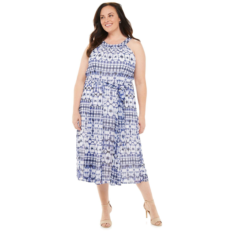 Plus Size Chaps Print Halter Midi Dress