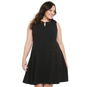 Plus Size Chaps A-Line Dress With Hardware Detail