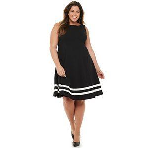 Plus Size Chaps Colorblock A-Line Dress